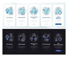 acesso à internet dia e noite onboarding tela da página do aplicativo móvel vetor