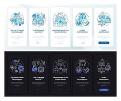 smart city Instruments dark, light onboarding tela da página do aplicativo móvel vetor