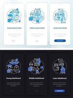 fases da idade adulta tela da página do aplicativo móvel de integração vetor