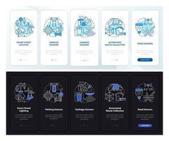 tela da página do aplicativo móvel de integração diurna e noturna da cidade inteligente vetor