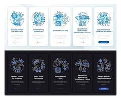 tela da página do aplicativo móvel de integração dia e noite projetos de cidade inteligente vetor