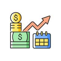 ícone de cor rgb de investimento de longo prazo vetor