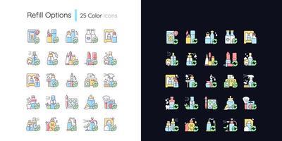 opções de recarga conjunto de ícones de cores rgb de tema claro e escuro vetor