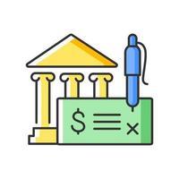 ícone de cor rgb de cheque bancário vetor