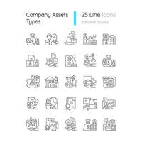 conjunto de ícones lineares de ativos de negócios vetor