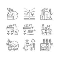 conjunto de ícones lineares de negócios agrícolas vetor
