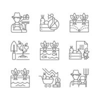 conjunto de ícones lineares agrícolas vetor