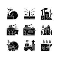ícones de glifo preto de negócios agrícolas definidos no espaço em branco vetor