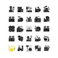 ícones de glifo preto relacionados à agricultura definidos no espaço em branco vetor