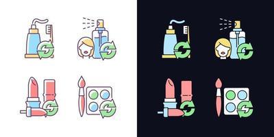 reabastecer e reutilizar conjunto de ícones de cores rgb de tema claro e escuro vetor