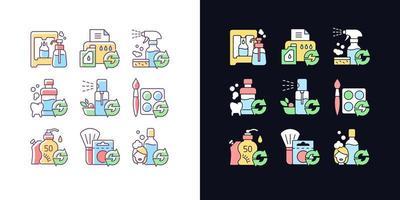 produtos reutilizáveis conjunto de ícones de cores rgb tema claro e escuro vetor