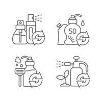 conjunto de ícones lineares de opções de recarga de produtos vetor