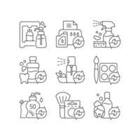 conjunto de ícones lineares de produtos reutilizáveis vetor