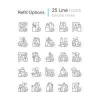 conjunto de ícones linear de opções de recarga vetor