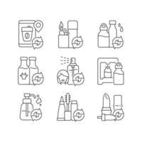 conjunto de ícones lineares de produtos recarregáveis vetor