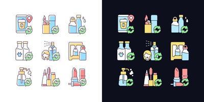 produtos recarregáveis conjunto de ícones de cores rgb de tema claro e escuro vetor