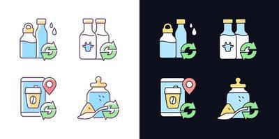opções recarregáveis conjunto de ícones de cores rgb de tema claro e escuro vetor