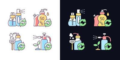 opções de recarga de produtos conjunto de ícones de cores rgb de tema claro e escuro vetor