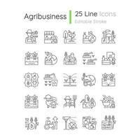 conjunto de ícones lineares relacionados à agricultura vetor