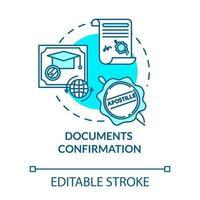 ícone de conceito turquesa de confirmação de documento vetor