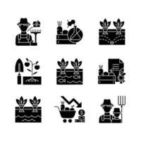 cultivando ícones de glifo preto definidos no espaço em branco vetor
