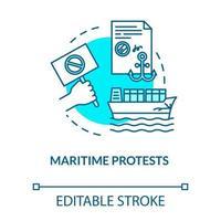 ícone do conceito turquesa de protesto marítimo vetor