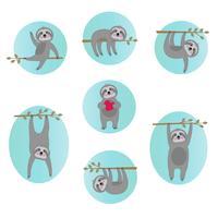ilustrações de vetor de preguiça bonitinho