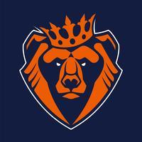 Urso no ícone de vetor de mascote de coroa
