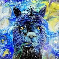 pintura de retrato impressionista de alpaca fofa noite estrelada vetor