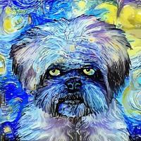 noite estrelada cão terrier mal-humorado pintura impressionista de retratos vetor