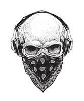 Crânio com fones de ouvido vetor
