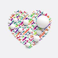 Coração colorido com bolas brancas realistas, ilustração vetorial