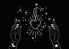 mulher mística mãos alquimia mágica esotérica símbolo sagrado do coração vetor