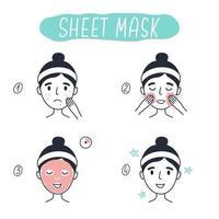 etapas como aplicar a máscara cosmética facial. elementos do vetor. vetor