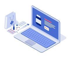 cuidados de saúde e médicos concept.online. ilustração vetorial isométrica. vetor