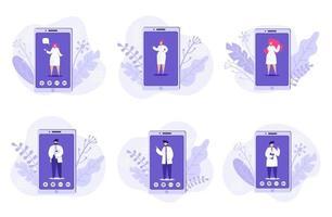 conjunto de médico online. serviços de saúde. ilustração vetorial. vetor