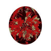 kaffir lily ou clivia miniata flower em um oval wpa art style vetor