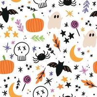 doodle padrão de halloween. fundo de halloween vetor