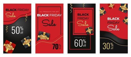 modelo de banners verticais de histórias em preto e vermelho para venda na sexta-feira negra vetor