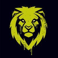 Arte de grafite de cabeça de leão vetor