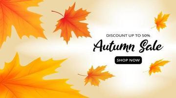 modelo de banner de venda de outono com folhas de plátano caindo vetor