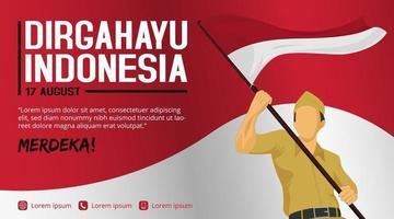 Modelo de banner do Dia da Independência da Indonésia com soldado segurando a bandeira vetor