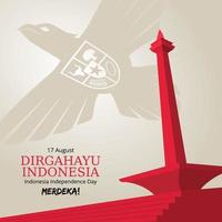 plano de fundo do dia da independência da Indonésia com garuda voadora e monas vetor
