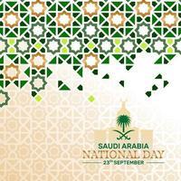 plano de fundo do dia nacional da Arábia Saudita com padrão islâmico e ponto de referência vetor