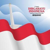 fundo do dia da independência da Indonésia com monas e bandeira agitando vetor
