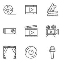 ícone de cinema definido com estilo de linha vetor