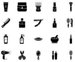 ícone de beleza definido vetor de estilo sólido