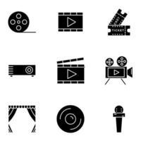 ícone de cinema definido com estilo glifo vetor