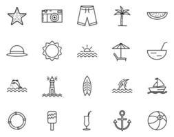 ícone de verão definido com estilo de contorno vetor