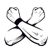 vetor de punhos cerrados de mãos cruzadas
